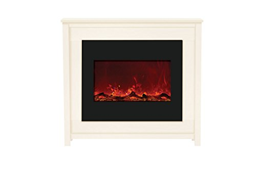 Amantii Zero Clearance Series Built-In Electric Fireplace With White Stained Mantle , 30-Inch