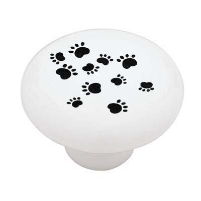 Paw Print Decorative High Gloss Ceramic Drawer Knob front-1022714