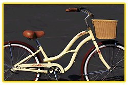Aluminum Alloy Anti-Rust Frame, Fito Brisa Alloy 3-speed - Mocha & Wicker Basket, women's Beach Cruiser Bike Bicycle, Shimano Nexus Equipped