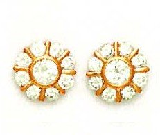 14ct Rose Gold Round CZ Flower Design Friction-Back Post Earrings