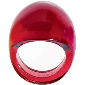LALIQUE Crystal Red Cabochon Ring Lg