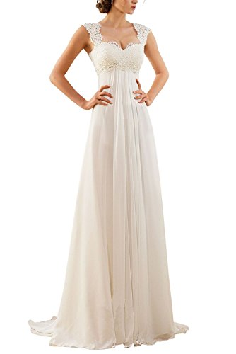 Erosebridal 2016 New Empire Lace Chiffon Wedding Dress Bridal Gown Size 14 Ivory
