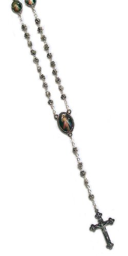 Metal Rosary with Clasp - Divine Mercy - 6mm Rose Shaped Beads - 18in. Chain - IMPORTED FROM ITALY