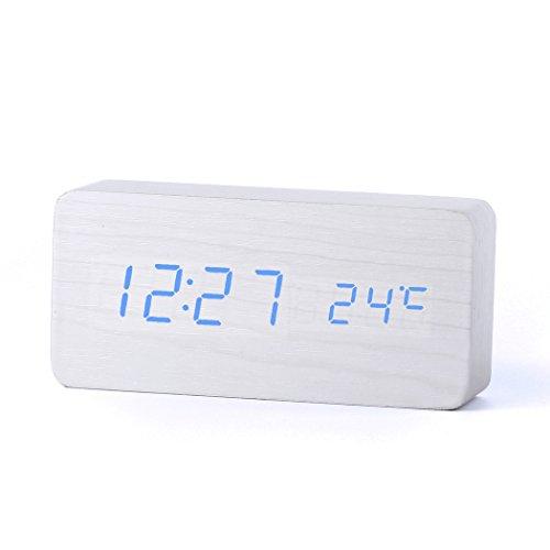 Forepin-Stilvoll-Holz-Wecker-Digital-Uhr-mit-Sound-Control-und-LED-Licht-Anzeige-Tischuhr-Alarm-Dekorationen-fr-das-Haus-und-Bro-Angetrieben-durch-USB-oder-Batterie-Rechteck-Gestalten-Wei-Blau-Licht