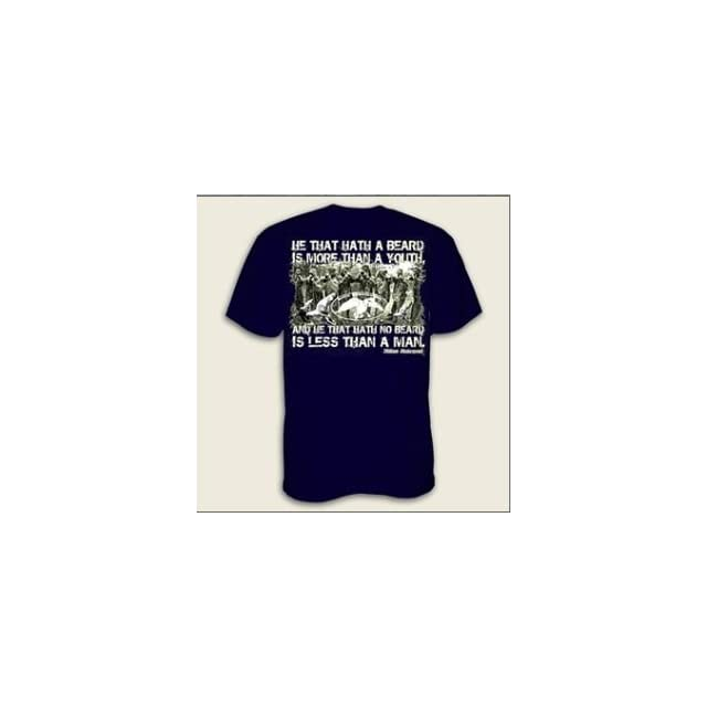 "Duck Dynasty Shirt   Duck Commander Shirt   Shakespeare quote   ""He that hath a beard is more than a youth, and he that hath no beard is less than a man""   Officially Licensed Shirt (Large, Navy Shakespeare) Clothing"