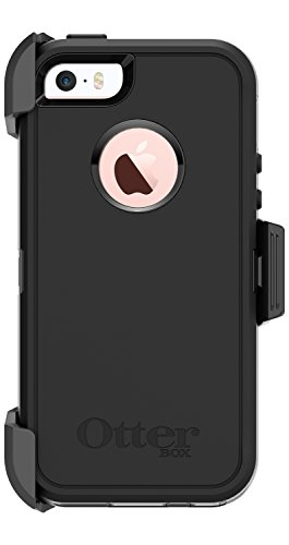 OtterBox DEFENDER SERIES Case and Holster for Apple iPhone SE/5s/5 - Retail Packaging - BLACK (Certified Refurbished) (Otterbox Iphone 5 Belt Clip compare prices)