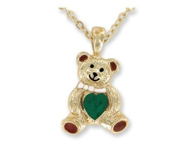 Teddy Bear Birthstone Necklace -AUGUST - faux PERIDOT - 1