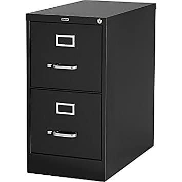 "Staples Vertical File Cabinet, 26-1/2"", 2- Drawer, Letter Size, Black"
