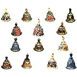Christmas Decor Paper Mache Ornaments Hanging Bells Size: 1.7 inches x 1.8 inches ~ ShalinIndia