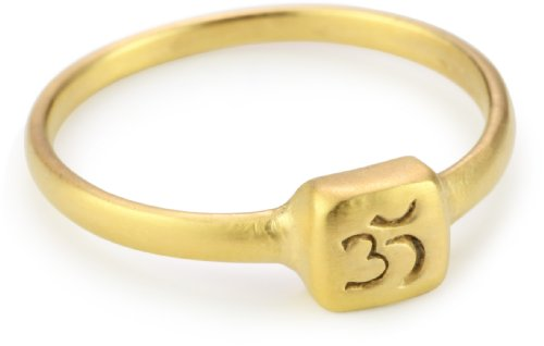 Satya Jewelry Gold Vermeil Etched Om Ring, Size 7