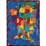 "Joy Carpets Kid Essentials Geography & Environment Read Across America Rug, Multicolored, 5'4"" x 7'8"""