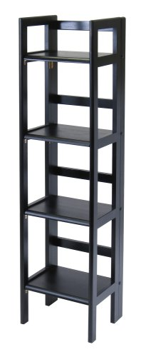 Winsome Wood Folding 4-Tier Shelf, Black