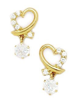 14ct Yellow Gold CZ Big Heart Drop Fancy Post Earrings - Measures 14x8mm