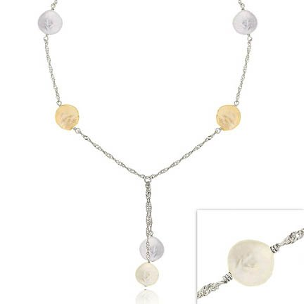 Sterling Silver Iridescent Genuine Freshwater Cultured Coin Pearl Lariat Necklace