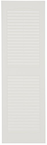 Perfect Shutters IL541435001 14-1/2-Inch by 35-Inch Louvered Cathedral Top Center Mullion Exterior Shutter, 1-Pair, White