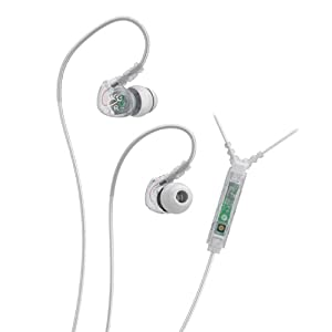 MEElectronics Sport-Fi M6P Memory Wire In-Ear Headphones with Microphone, Remote, and Universal Volume Control (Clear)