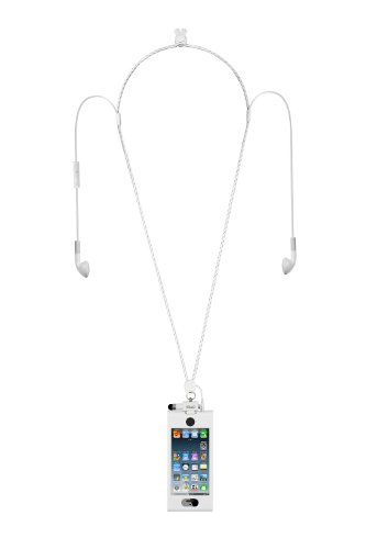 Ihangy Ihg-Ont-85621 Music Lanyard Necklace With Slip In 5 Case For Iphone 5 With Earbuds - 1 Pack - Retail Packaging - White