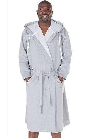 Del Rossa Men's Sweatshirt Style Hooded Cotton Bathrobe (A0311GRYXL), Light Heather Gray, L/XL