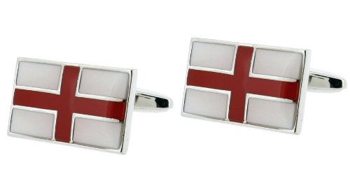 Code Red Base Metal Rhodium Plated With Red And White Enamel Cufflinks