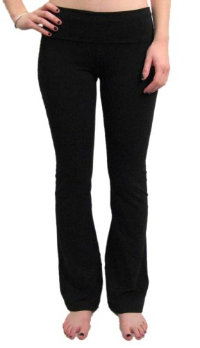 Rose-Embroidered Roll Down Pant by Hard Tail (Black, Medium)