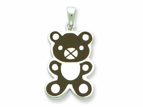 Sterling Silver Resin Teddy Bear Pendant - Chain Included LIFETIME WARRANTY
