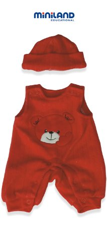 Miniland Red Bib Overall With Hat For 15.75'' Baby Dolls front-925429