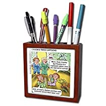 Londons Times Funny Famous Cartoons - Russia vs. Barbie Dolls - Tile Pen Holders-5 inch tile pen holder
