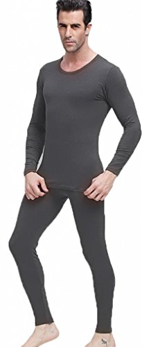 Men's Thermal Underwear Set Top & Bottom Fleece Lined, M1 Charcoal, Medium