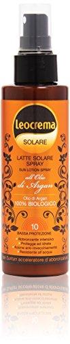Leocrema - Latte Solare Spray, all'Olio di Argan, Bassa protezione 10 - 150 ml