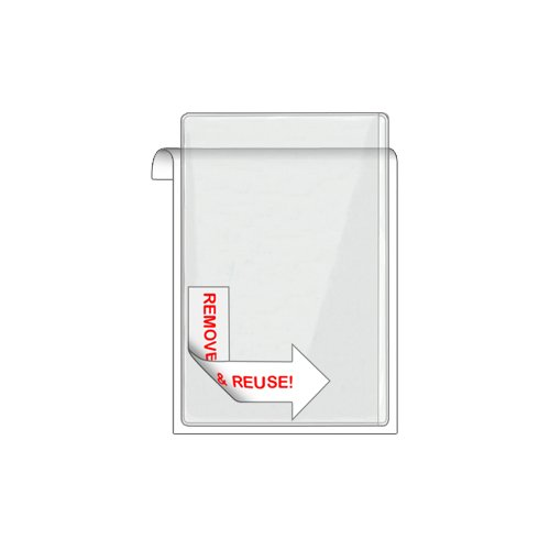 "Storesmart® Remove & Reuse - 25 Peel & Stick 4"" X 6"" Pockets - Open Long Side - Vinyl Plastic (Psr1888L25) front-578244"