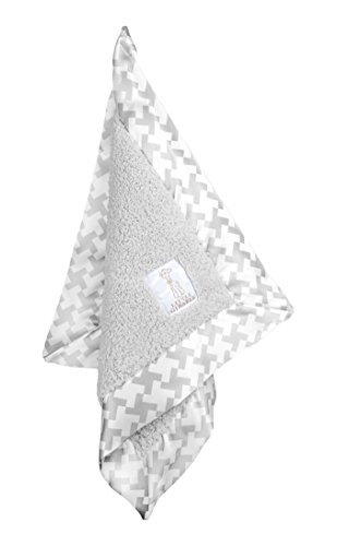 Little Giraffe Chenille Hounds Tooth Blanky, Silver