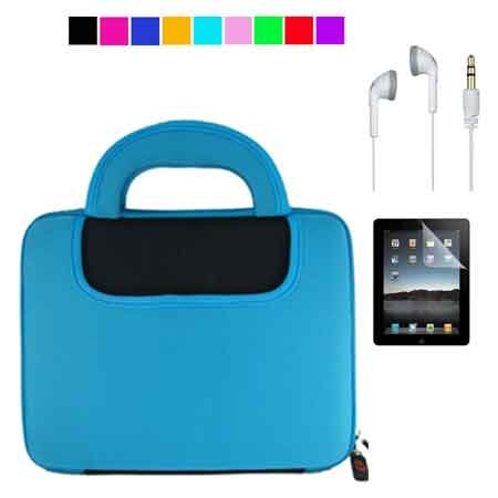 Apple iPad Two-Tone Color Case + Clear Screen Protector + White Headset for iPad (Black-Blue)