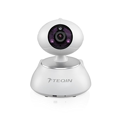 TEQIN S-AKITA Intelligent Network Pan Tilt Monitoring IP Camera Video Surveillance with 720P HD Quality Night Vision 2-Way Audio Intercom Phone Remote Support Control Security Guard Alarm + Remote