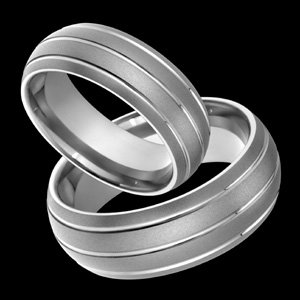 Lysya - size 4.00 Classic Sandblast Titanium Wedding Band Set