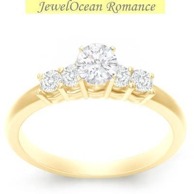 0.58 Carat Inexpensive Engagement ring with Round cut Diamond on 18K Yellow gold