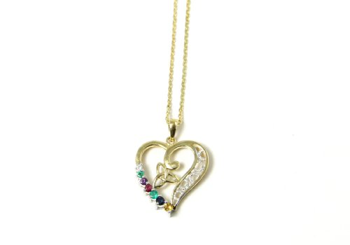 Clearance - 14k Gold Synthetic Gemstone Trinity Knot Heart Necklace