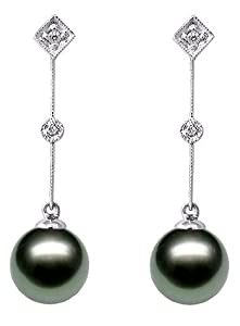 PremiumPearl 9-10mm AAA Quality Black Tahitian Pearl Earrings 14K Gold and Diamonds