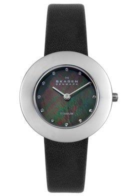 Skagen Women's 569STLB Titanium Black Leather Watch