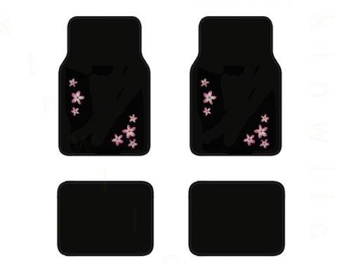 A Set of 4 Universal Fit Plush Capret Floor Mats for Cars / Trucks - Pink Flower