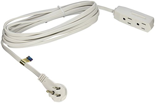 Flat Extension Cord : Slimline flat plug extension cord wire white