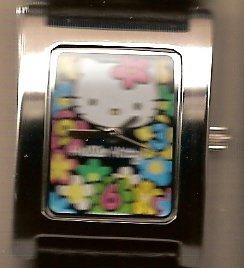 Floral Hello Kitty Wrist Watch with Black Band