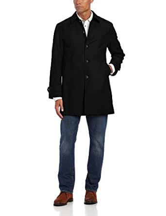 Tommy Hilfiger Men's Single Breasted Raincoat, Black, 40 Large