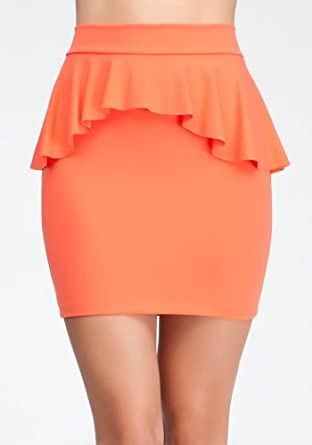 bebe Peplum Pencil Knit Skirt Related Hot Coral-l
