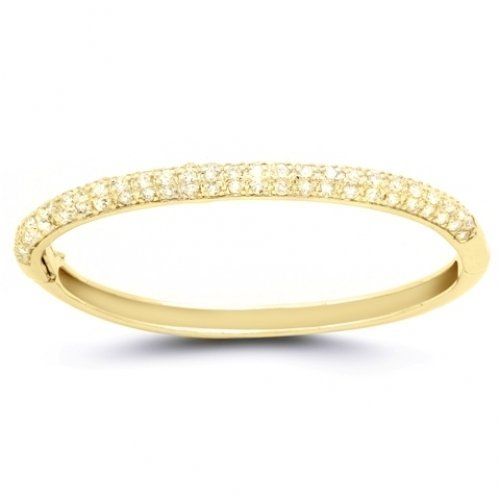 Bling Jewelry Designer Gold Vermeil CZ Bangle Bracelet