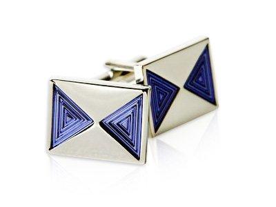 Geometric Purple Enamel and Silver Tone Cufflinks by Cuff-Daddy