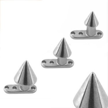 Grade 23 Titanium Dermal Anchor with Spike Dermal Top - 3mm - 14G - Sold Individually