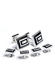 Ike Behar Men's Rectangular Onyx and Mother Of Pearl Cufflink Stud Set