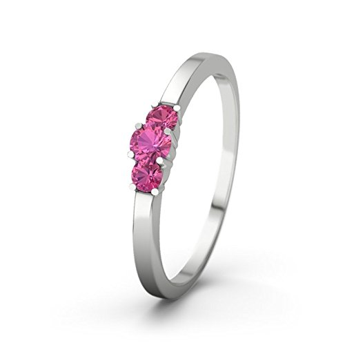 21DIAMONDS Women's Shannon 21PREMIUM Engagement Ring Brilliant Cut Pink Tourmaline Ring - Silver Engagement Ring