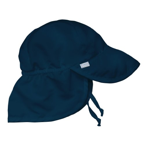 I play. Baby Flap Sun Protection Swim Hat, Navy, 0-6 Months