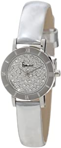 Freelook Women's HA3031-4 Silver Synthetic Leather Band Bezel All Stones Swarovski Face Watch